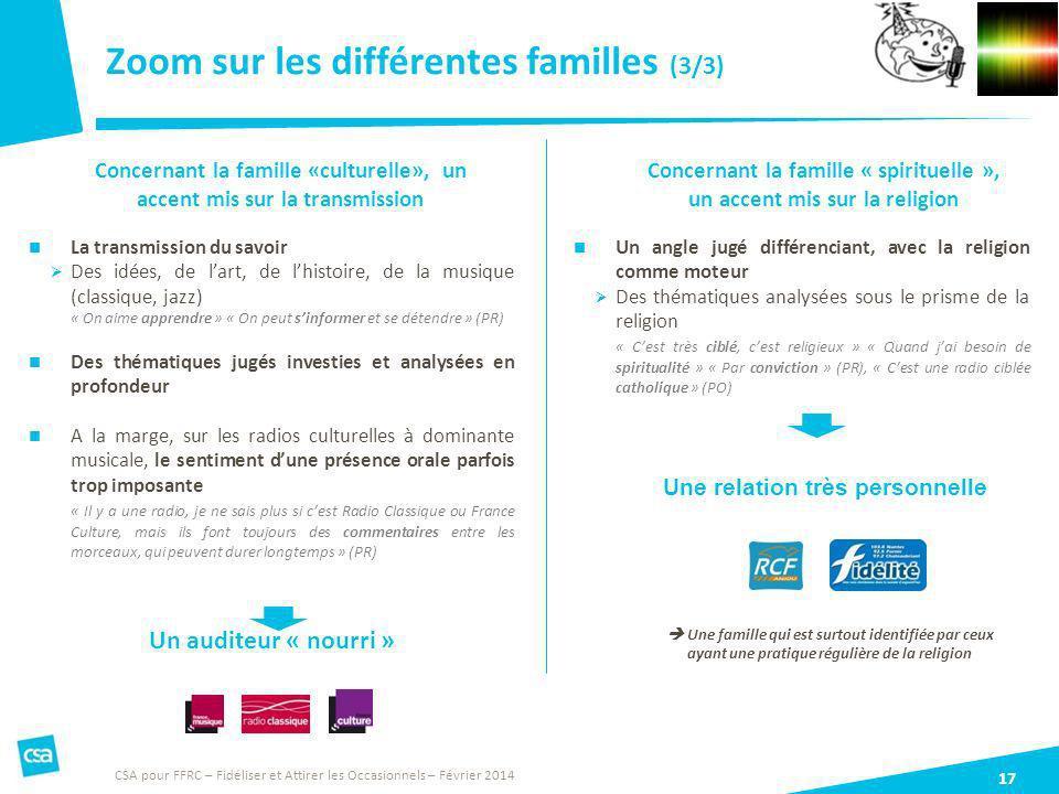 Zoom sur les différentes familles (3/3) 17 La transmission du savoir Des idées, de lart, de lhistoire, de la musique (classique, jazz) « On aime appre