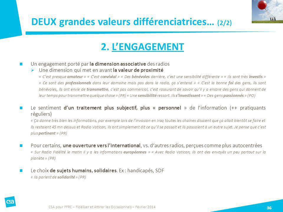 DEUX grandes valeurs différenciatrices… (2/2) 36 2. LENGAGEMENT Un engagement porté par la dimension associative des radios Une dimension qui met en a