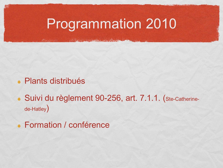 Programmation 2010 Plants distribués Suivi du règlement 90-256, art. 7.1.1. ( Ste-Catherine- de-Hatley ) Formation / conférence