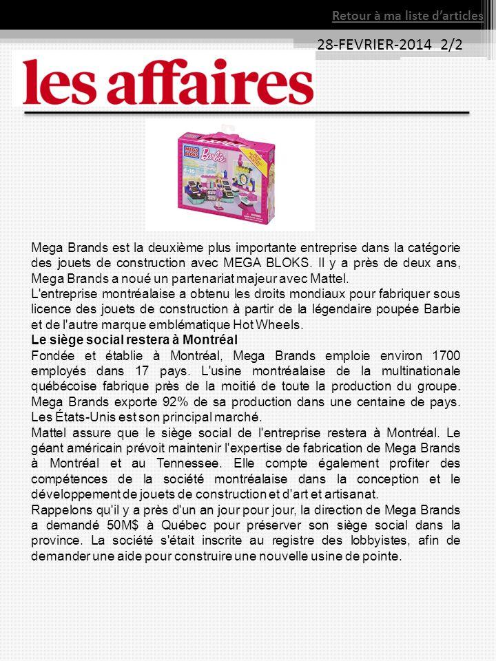 Mega Brands est la deuxième plus importante entreprise dans la catégorie des jouets de construction avec MEGA BLOKS.