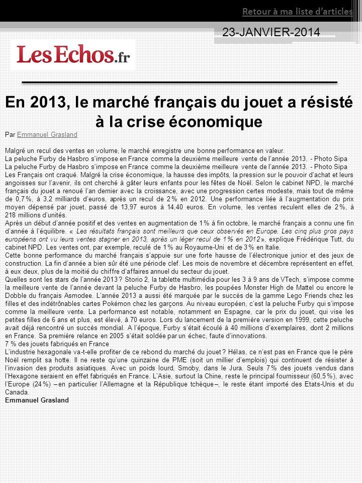 23-JANVIER-2014 En 2013, le marché français du jouet a résisté à la crise économique Par Emmanuel GraslandEmmanuel Grasland Malgré un recul des ventes en volume, le marché enregistre une bonne performance en valeur.