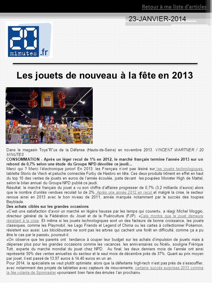 Les jouets de nouveau à la fête en 2013 Dans le magasin Toys R us de la Défense (Hauts-de-Seine) en novembre 2013.