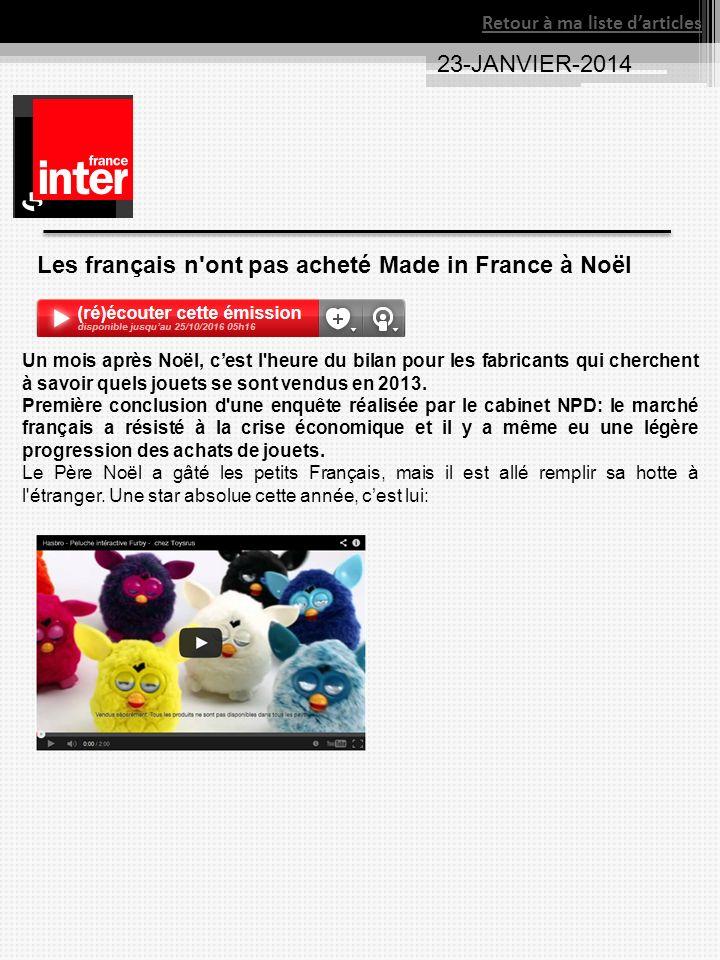 23-JANVIER-2014 Retour à ma liste darticles Les français n ont pas acheté Made in France à Noël Un mois après Noël, cest l heure du bilan pour les fabricants qui cherchent à savoir quels jouets se sont vendus en 2013.