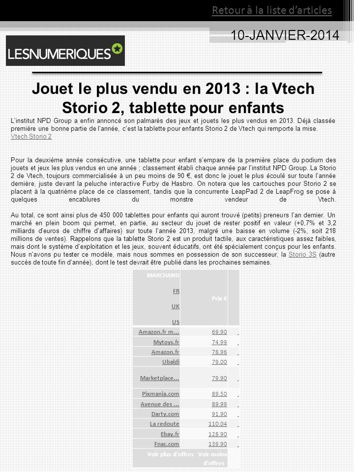10-JANVIER-2014 MARCHAND FR UK US Prix Amazon.fr m...69.90 Mytoys.fr74.99 Amazon.fr78.96 Ubaldi79.00 Marketplace...79.90 Pixmania.com89.50 Avenue des...89.99 Darty.com91.90 La redoute110.04 Ebay.fr128.90 Fnac.com139.90 Voir plus d offres Voir moins d offres Jouet le plus vendu en 2013 : la Vtech Storio 2, tablette pour enfants L institut NPD Group a enfin annoncé son palmarès des jeux et jouets les plus vendus en 2013.