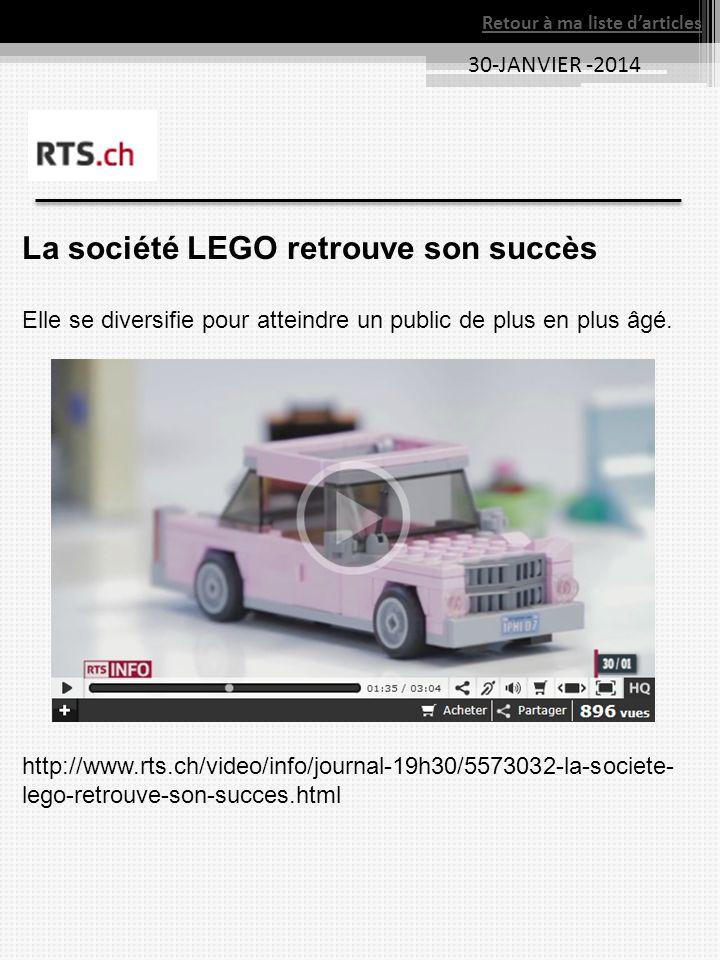 30-JANVIER -2014 Retour à ma liste darticles La société LEGO retrouve son succès Elle se diversifie pour atteindre un public de plus en plus âgé.