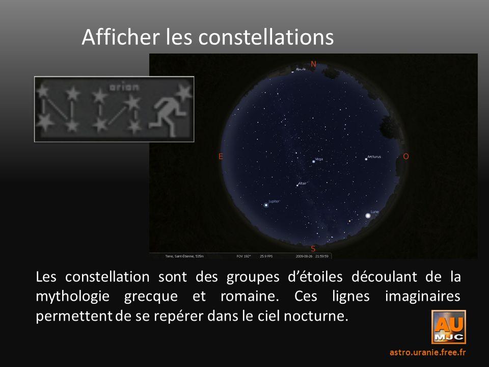 Afficher les constellations Les constellation sont des groupes détoiles découlant de la mythologie grecque et romaine. Ces lignes imaginaires permette