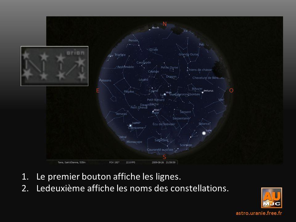 1.Le premier bouton affiche les lignes. 2.Ledeuxième affiche les noms des constellations. astro.uranie.free.fr