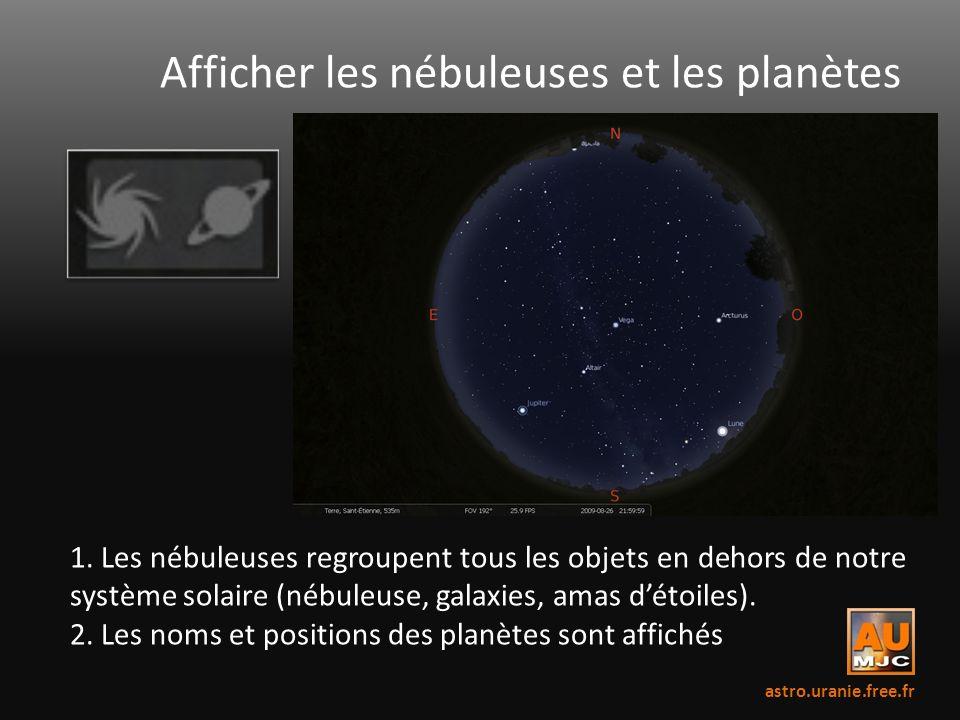 Afficher les nébuleuses et les planètes 1. Les nébuleuses regroupent tous les objets en dehors de notre système solaire (nébuleuse, galaxies, amas dét