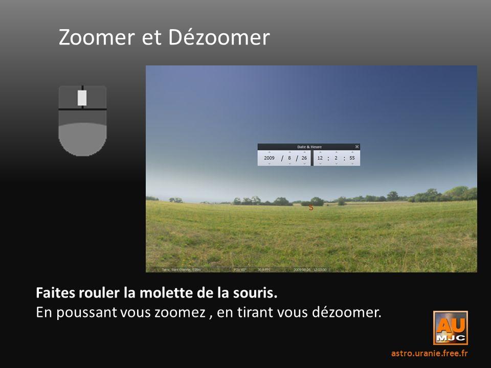 Zoomer et Dézoomer Faites rouler la molette de la souris. En poussant vous zoomez, en tirant vous dézoomer. astro.uranie.free.fr
