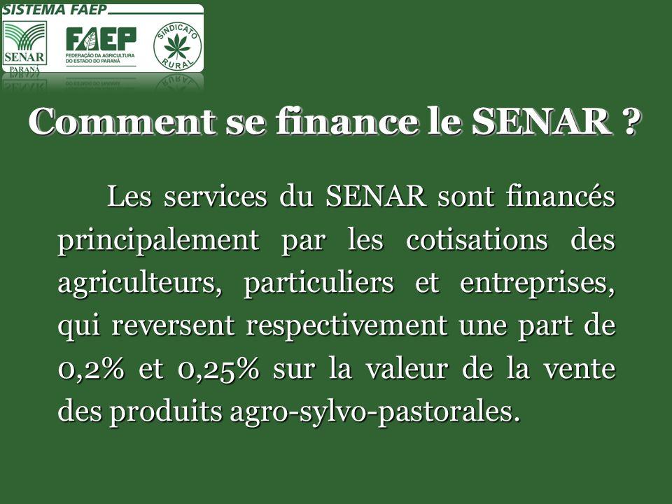 Comment se finance le SENAR .