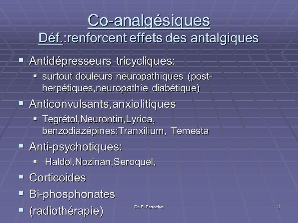 Dr. F. Perrochet11 Co-analgésiques Déf.:renforcent effets des antalgiques Antidépresseurs tricycliques: Antidépresseurs tricycliques: surtout douleurs