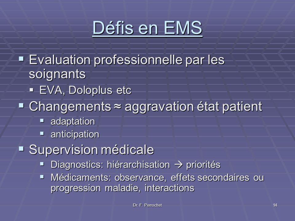 Dr. F. Perrochet14 Défis en EMS Evaluation professionnelle par les soignants Evaluation professionnelle par les soignants EVA, Doloplus etc EVA, Dolop
