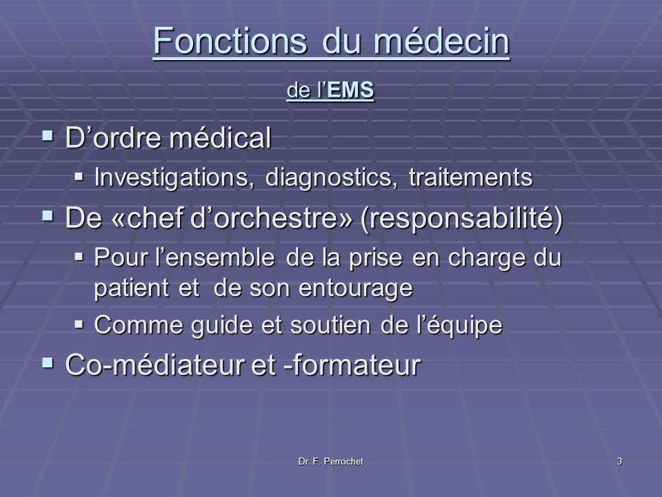 Dr. F. Perrochet3 Fonctions du médecin de lEMS Dordre médical Dordre médical Investigations, diagnostics, traitements Investigations, diagnostics, tra