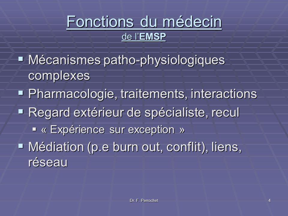 Dr. F. Perrochet4 Fonctions du médecin de lEMSP Mécanismes patho-physiologiques complexes Mécanismes patho-physiologiques complexes Pharmacologie, tra