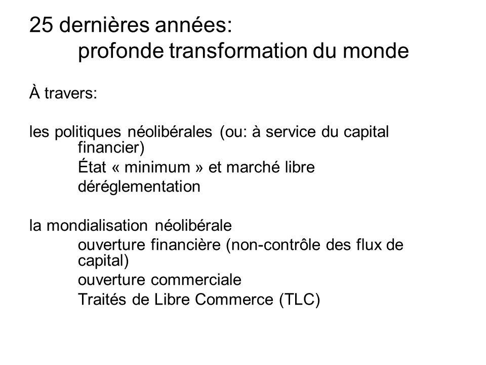 25 dernières années: profonde transformation du monde À travers: les politiques néolibérales (ou: à service du capital financier) État « minimum » et marché libre déréglementation la mondialisation néolibérale ouverture financière (non-contrôle des flux de capital) ouverture commerciale Traités de Libre Commerce (TLC)