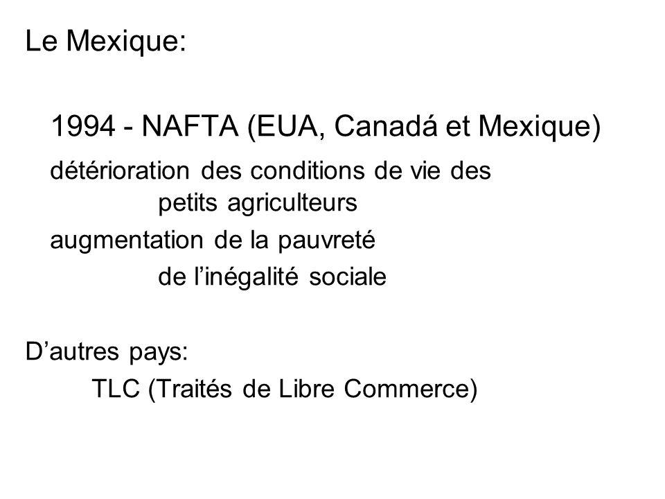 Le Mexique: 1994 - NAFTA (EUA, Canadá et Mexique) détérioration des conditions de vie des petits agriculteurs augmentation de la pauvreté de linégalité sociale Dautres pays: TLC (Traités de Libre Commerce)