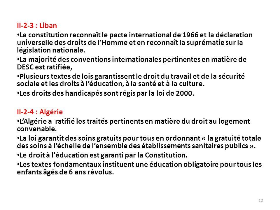 II-2-3 : Liban La constitution reconnaît le pacte international de 1966 et la déclaration universelle des droits de lHomme et en reconnaît la suprématie sur la législation nationale.