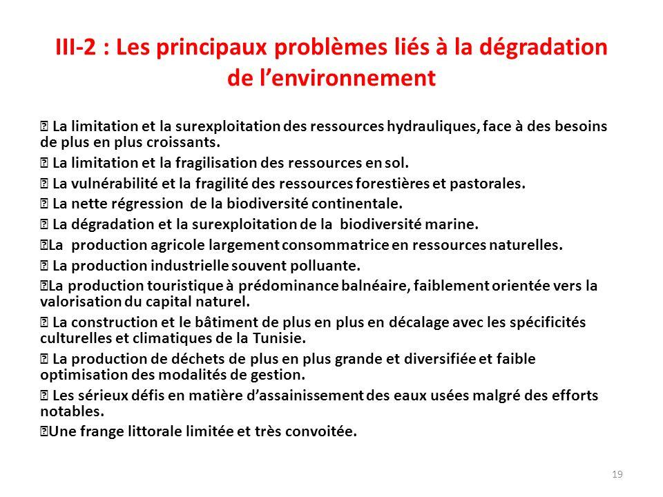 III-2 : Les principaux problèmes liés à la dégradation de lenvironnement La limitation et la surexploitation des ressources hydrauliques, face à des besoins de plus en plus croissants.