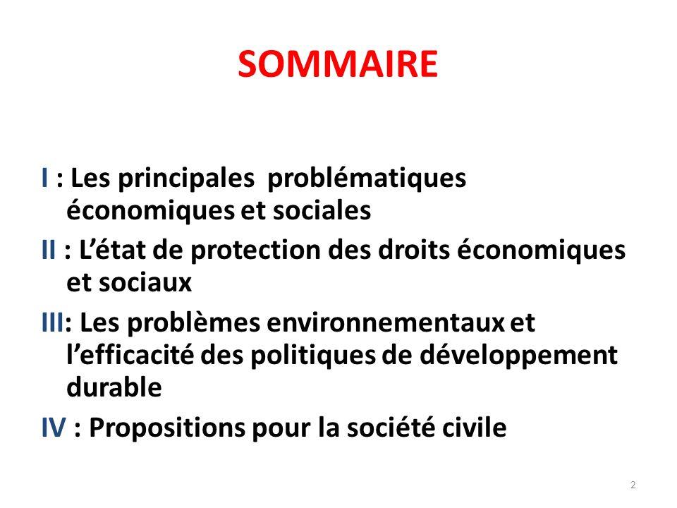 SOMMAIRE I : Les principales problématiques économiques et sociales II : Létat de protection des droits économiques et sociaux III: Les problèmes environnementaux et lefficacité des politiques de développement durable IV : Propositions pour la société civile 2