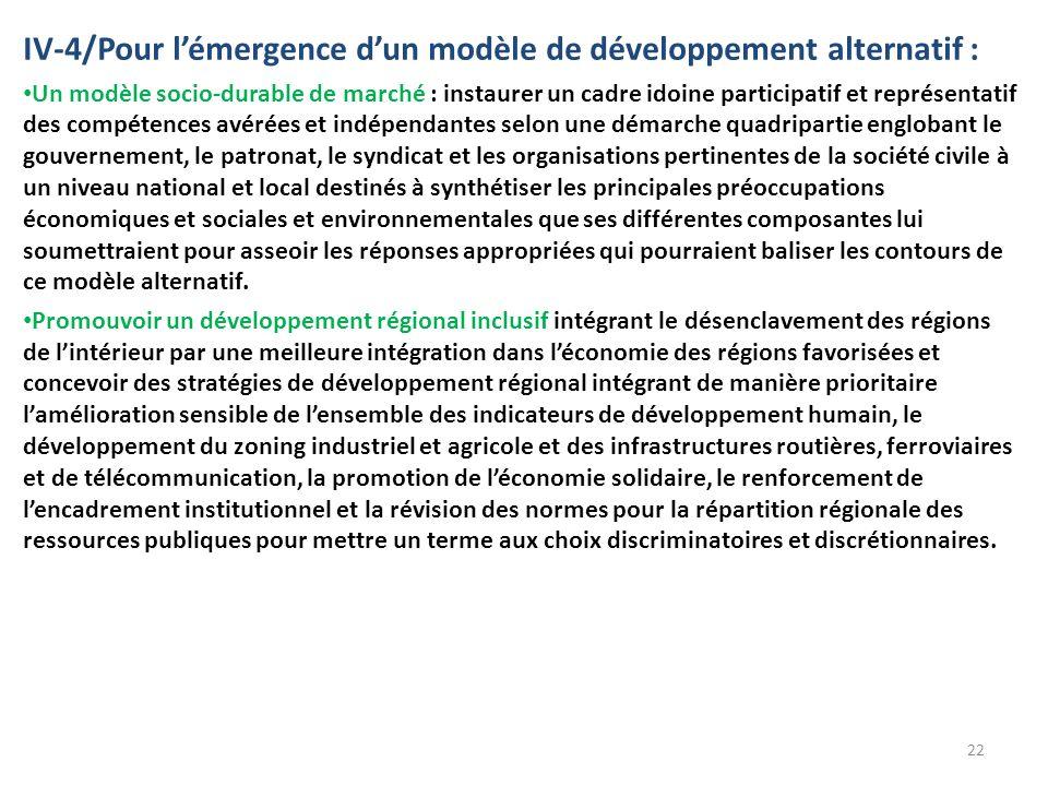 IV-4/Pour lémergence dun modèle de développement alternatif : Un modèle socio-durable de marché : instaurer un cadre idoine participatif et représentatif des compétences avérées et indépendantes selon une démarche quadripartie englobant le gouvernement, le patronat, le syndicat et les organisations pertinentes de la société civile à un niveau national et local destinés à synthétiser les principales préoccupations économiques et sociales et environnementales que ses différentes composantes lui soumettraient pour asseoir les réponses appropriées qui pourraient baliser les contours de ce modèle alternatif.
