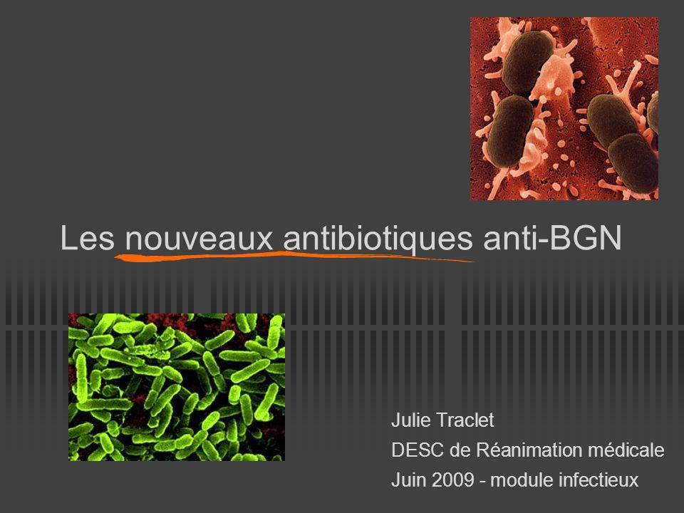 Les nouveaux antibiotiques anti-BGN Julie Traclet DESC de Réanimation médicale Juin 2009 - module infectieux