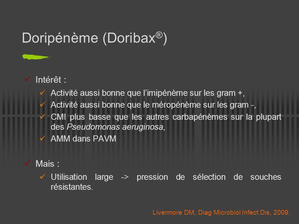 Doripénème (Doribax ® ) Intérêt : Activité aussi bonne que limipénème sur les gram +, Activité aussi bonne que le méropénème sur les gram -, CMI plus