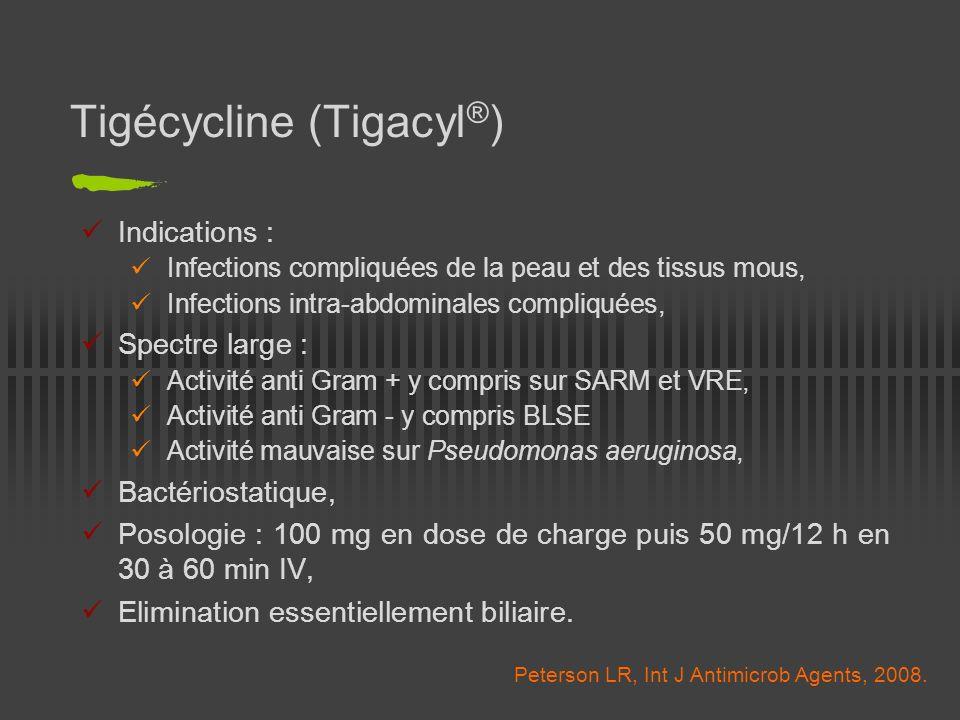 Tigécycline (Tigacyl ® ) Indications : Infections compliquées de la peau et des tissus mous, Infections intra-abdominales compliquées, Spectre large :