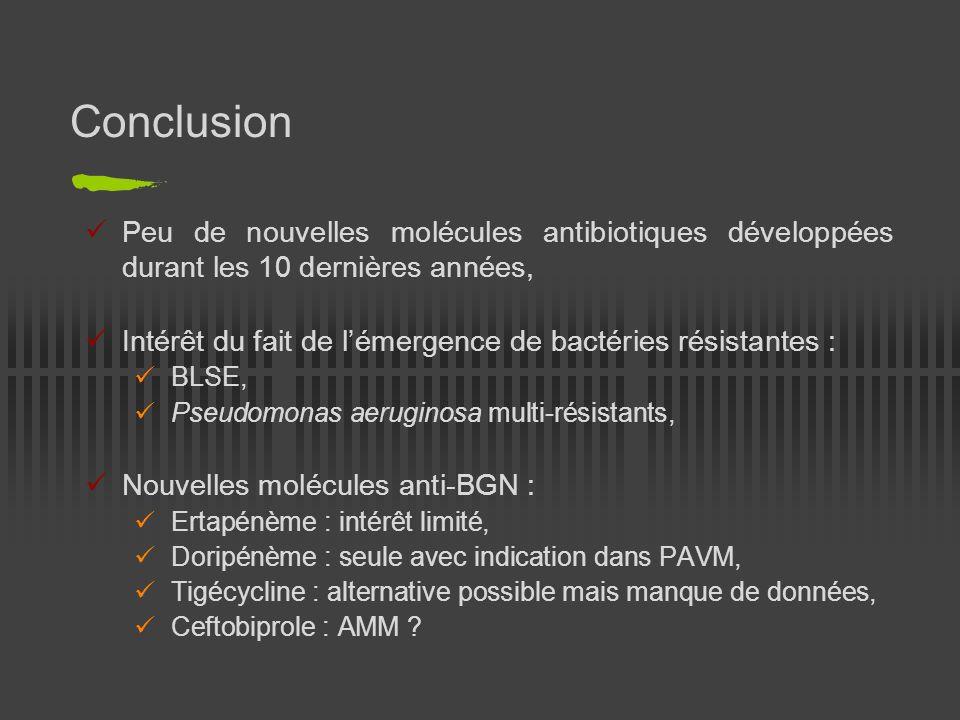 Conclusion Peu de nouvelles molécules antibiotiques développées durant les 10 dernières années, Intérêt du fait de lémergence de bactéries résistantes