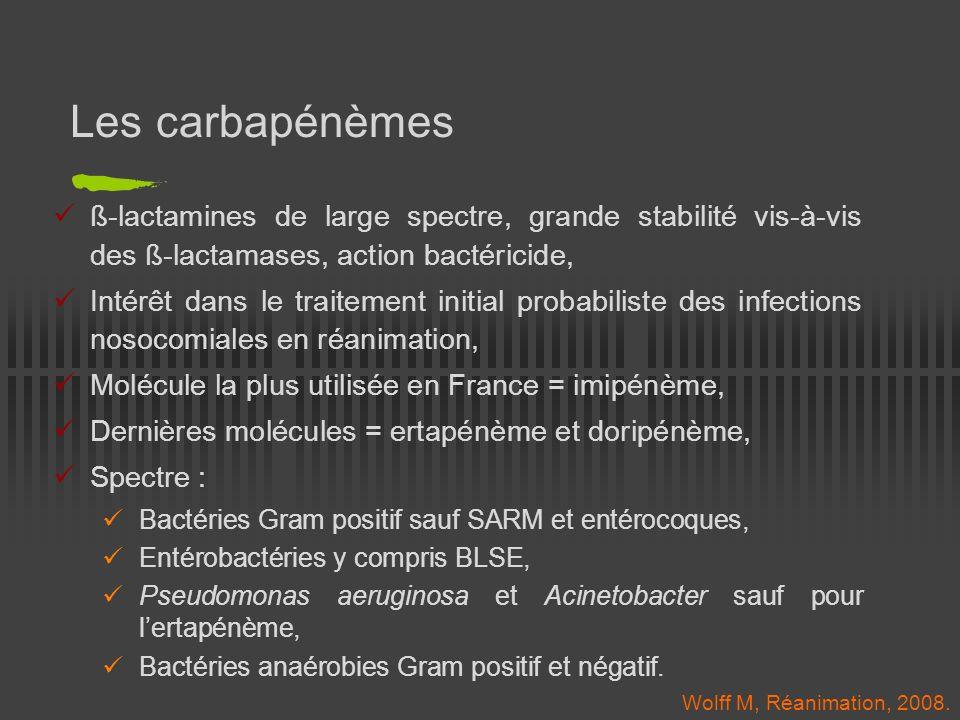 Ertapénème (Invanz ® ) Indications : Infections compliquées intra-abdominales et gynécologiques, Pneumopathies communautaires, Infections compliquées de la peau et des tissus mous, Pied diabétique, Posologie : 1g/jour en IV en 1 seule injection, Spectre : Celui des carbapénèmes, Mais « trous » à connaître : Pseudomonas aeruginosa, Acinetobacter.