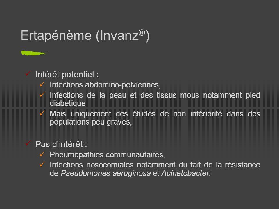 Doripénème (Doribax ® ) Plus récent des carbapénèmes, approuvé par la FDA en 2007, AMM européenne en juillet 2008, Indications : Pneumopathies nosocomiales dont les PAVM, Infections intra-abdominales compliquées, Infections des voies urinaires compliquées dont les pyélonéphrites, Posologie : 500 mg en perfusion lente de 4 heures, toutes les 8 heures, Spectre : Celui des carbapénèmes, Intérêt particulier : entérobactéries BLSE, Pseudomonas aeruginosa, Klebsiella pneumoniae.