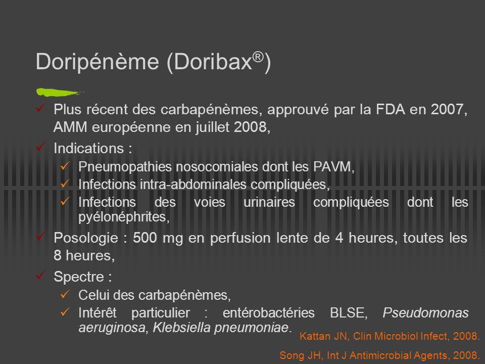 PAVM documentées, doripénème 500 mg/8h en IV sur 4h vs imipénème 500 mg/6h sur 30 min ou 1 g/8h sur 60 min, dosages adaptés à la fonction rénale ± vancomycine si SARM / amiklin si Pseudomonas aeruginosa, Etude de non infériorité : doripénème aussi efficace que limipénème pour le traitement des PAVM, tolérance équivalente, Mais Patients modérément graves (APACHE II < 30, pas de choc septique, pas de SDRA, pas dinsuffisance rénale aiguë), Etude en ouvert.