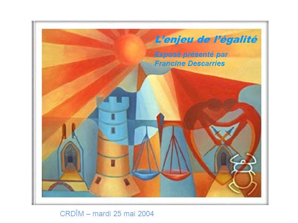 Lenjeu de légalité Exposé présenté par Francine Descarries CRDÎM – mardi 25 mai 2004