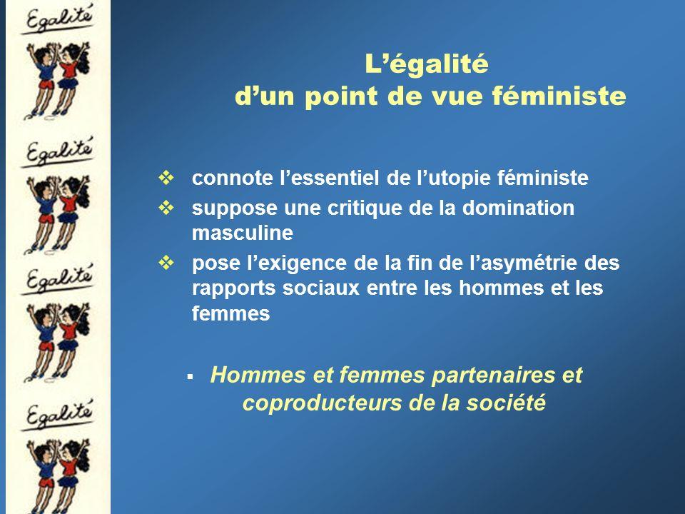 Légalité dun point de vue féministe connote lessentiel de lutopie féministe suppose une critique de la domination masculine pose lexigence de la fin de lasymétrie des rapports sociaux entre les hommes et les femmes Hommes et femmes partenaires et coproducteurs de la société