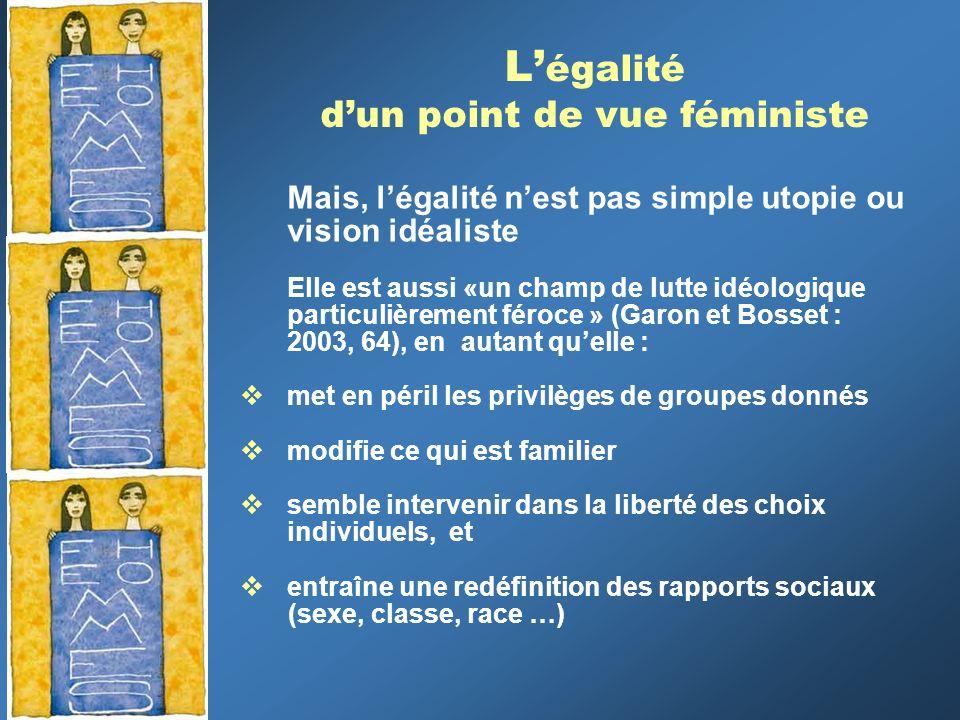 L égalité dun point de vue féministe Mais, légalité nest pas simple utopie ou vision idéaliste Elle est aussi «un champ de lutte idéologique particuli