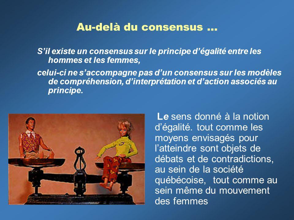 Au-delà du consensus … Sil existe un consensus sur le principe dégalité entre les hommes et les femmes, celui-ci ne saccompagne pas dun consensus sur les modèles de compréhension, dinterprétation et daction associés au principe.