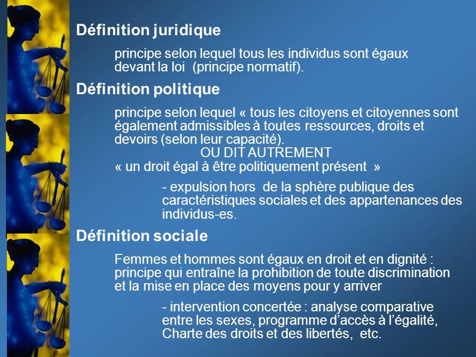 Définition juridique principe selon lequel tous les individus sont égaux devant la loi (principe normatif). Définition politique principe selon lequel