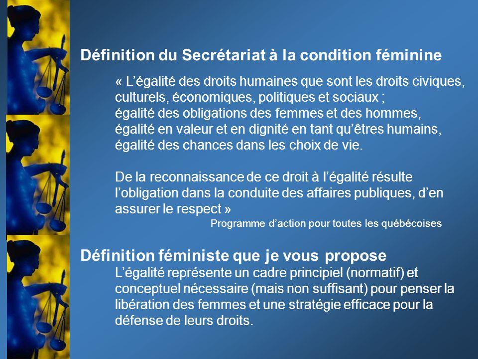 Définition du Secrétariat à la condition féminine « Légalité des droits humaines que sont les droits civiques, culturels, économiques, politiques et sociaux ; égalité des obligations des femmes et des hommes, égalité en valeur et en dignité en tant quêtres humains, égalité des chances dans les choix de vie.
