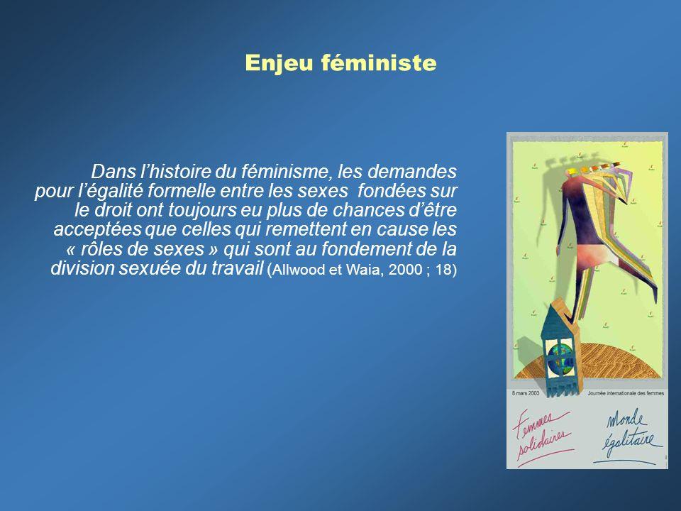 Enjeu féministe Dans lhistoire du féminisme, les demandes pour légalité formelle entre les sexes fondées sur le droit ont toujours eu plus de chances dêtre acceptées que celles qui remettent en cause les « rôles de sexes » qui sont au fondement de la division sexuée du travail ( Allwood et Waia, 2000 ; 18)