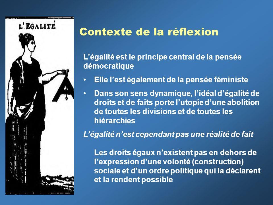 Contexte de la réflexion Légalité est le principe central de la pensée démocratique Elle lest également de la pensée féministe Dans son sens dynamique