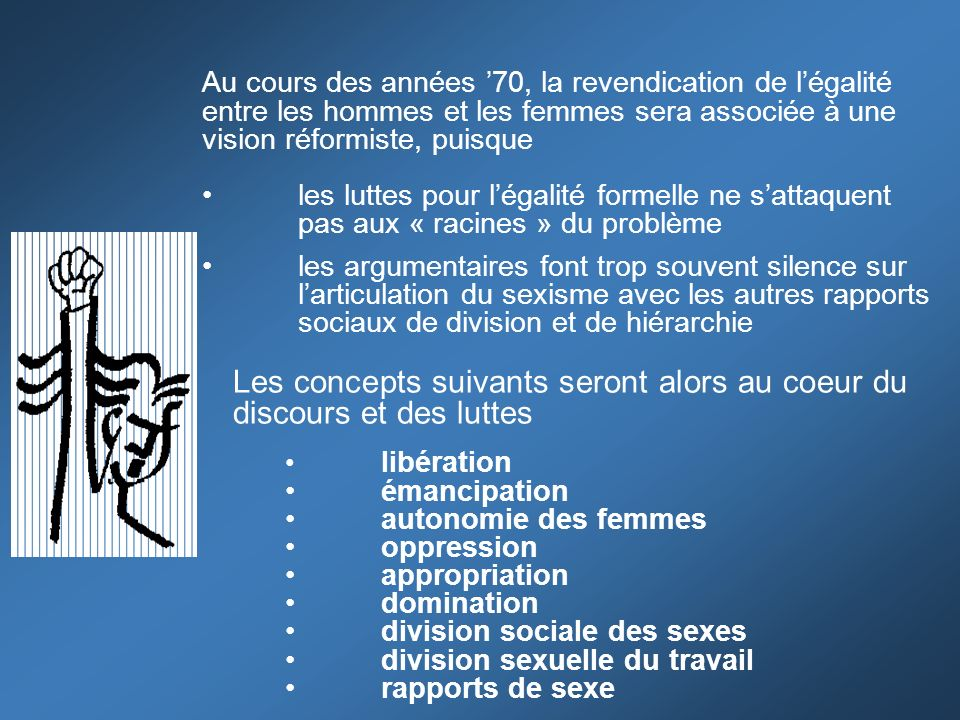Les concepts suivants seront alors au coeur du discours et des luttes libération émancipation autonomie des femmes oppression appropriation domination