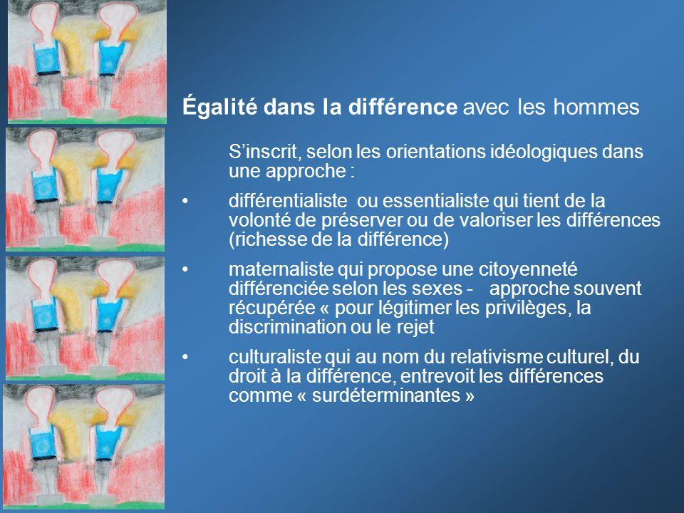 Égalité dans la différence avec les hommes Sinscrit, selon les orientations idéologiques dans une approche : différentialiste ou essentialiste qui tie
