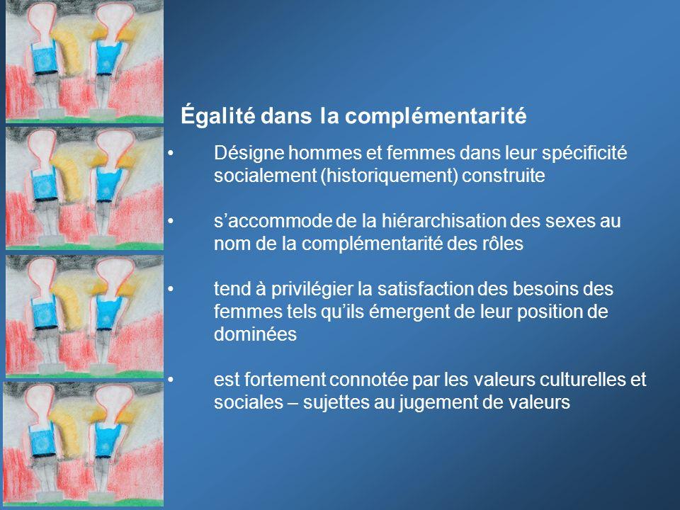 Égalité dans la complémentarité Désigne hommes et femmes dans leur spécificité socialement (historiquement) construite saccommode de la hiérarchisatio