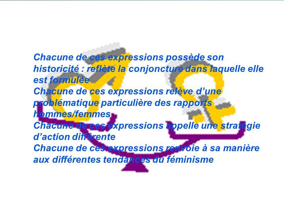 Chacune de ces expressions possède son historicité : reflète la conjoncture dans laquelle elle est formulée Chacune de ces expressions relève dune problématique particulière des rapports hommes/femmes Chacune de ces expressions appelle une stratégie daction différente Chacune de ces expressions renvoie à sa manière aux différentes tendances du féminisme