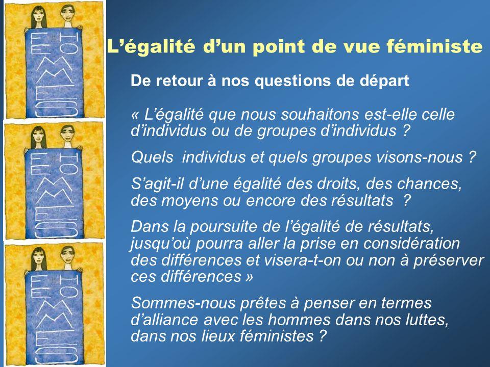 Légalité dun point de vue féministe De retour à nos questions de départ « Légalité que nous souhaitons est-elle celle dindividus ou de groupes dindivi