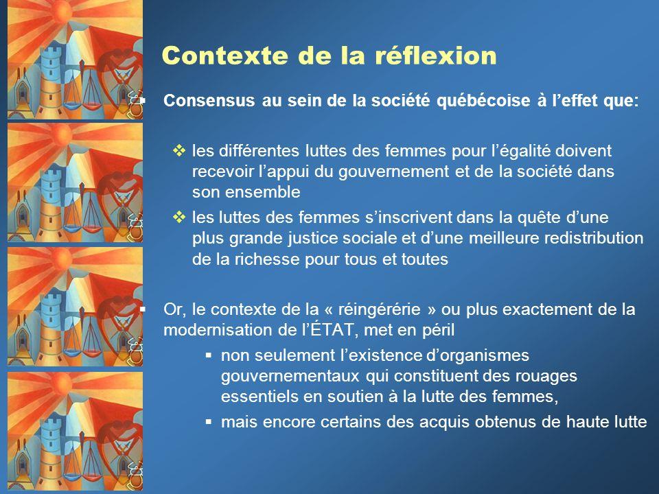 Contexte de la réflexion Consensus au sein de la société québécoise à leffet que: les différentes luttes des femmes pour légalité doivent recevoir lap