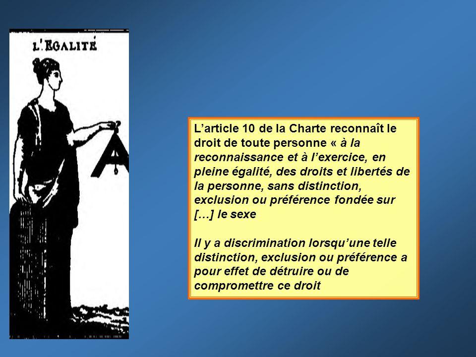 Larticle 10 de la Charte reconnaît le droit de toute personne « à la reconnaissance et à lexercice, en pleine égalité, des droits et libertés de la pe