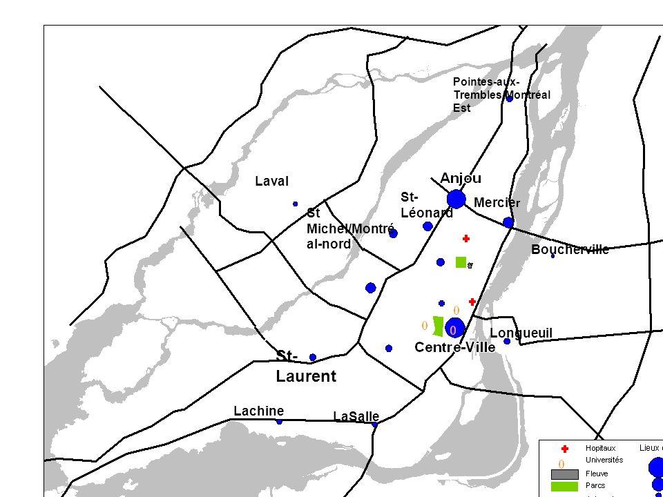 Laval St- Léonard Mercie r St Michel/Montré al-nord Lachine LaSalle Pointes-aux- Trembles/Montréal Est Longueuil Boucherville St- Laurent