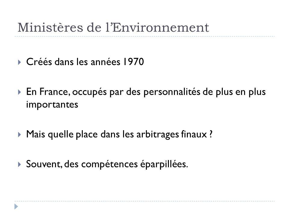 Ministères de lEnvironnement Créés dans les années 1970 En France, occupés par des personnalités de plus en plus importantes Mais quelle place dans le