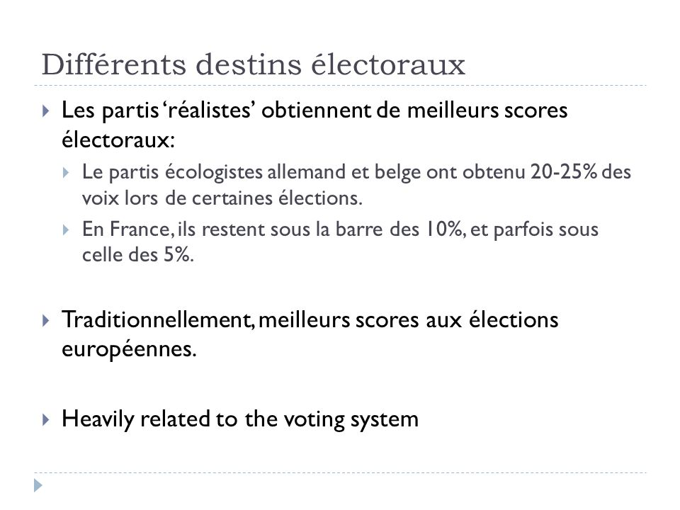 Différents destins électoraux Les partis réalistes obtiennent de meilleurs scores électoraux: Le partis écologistes allemand et belge ont obtenu 20-25% des voix lors de certaines élections.