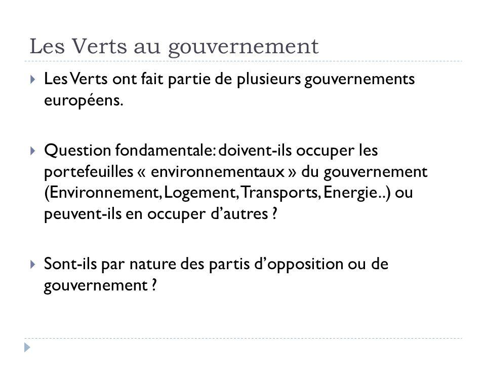 Les Verts au gouvernement Les Verts ont fait partie de plusieurs gouvernements européens. Question fondamentale: doivent-ils occuper les portefeuilles